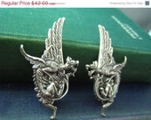 Sale 20% off Ear cuff NO PIERCING--vintage style ox sterling silver plated brass gothic dragon wing earrings, E479