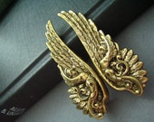 Ear cuff NO PIERCING--vintage style ox brass ancient greek warrior wing earrings, E490