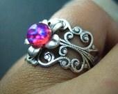 dragon's breath--Vintage iridescent opal glass filigree flower ox sterling silver brass ring, R495