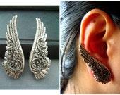 Ear cuff NO PIERCING--ox sterling silver plated brass art nouveau floral wing earrings, E463