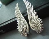 Ear cuff NO PIERCING--vintage style ox sterling silver plated brass double wing earrings, E468