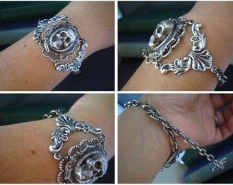 Sterling silver plated brass skull cameo gothic bracelet