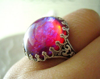 Lycoris-- Dragon's breath large opal glass stone antique silver brass adjustable ringR002