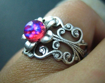 dragon's breath--Vintage iridescent opal glass filigree flower ox sterling silver brass ring, G002