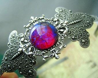 Opal d'Elegance-Dragon's breath Mexican opal glass fleur de lis headband--OX antique sterling silver plated brass