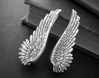 Black Angel Wing Steampunk sterling silver brass Wing alligator hair clipsH009