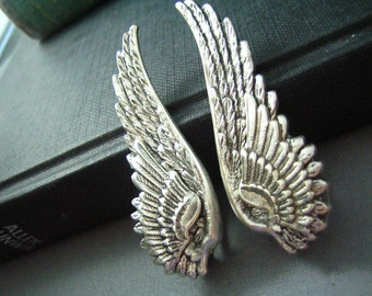 Ear cuff NO PIERCING--vintage style ox sterling silver plated brass double wing earrings, E468