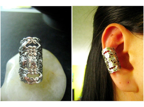 Ear cuff NO PIERCING--ox Antique sterling silver plated brass neo victorian earrings