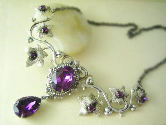 Aglaia--Swarovski amethyst crystals antique silver art nouveau flourish metalwork necklace-Bridal-Wedding-Victorian-Edwardian
