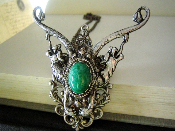 Sterling silver plated brass sea dragon Jade glass statement necklace, soldered, not glued.---N243