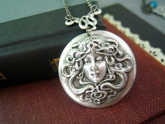Mythical goddess-- Large antique sterling silver plated brass art nouveau goddess necklace