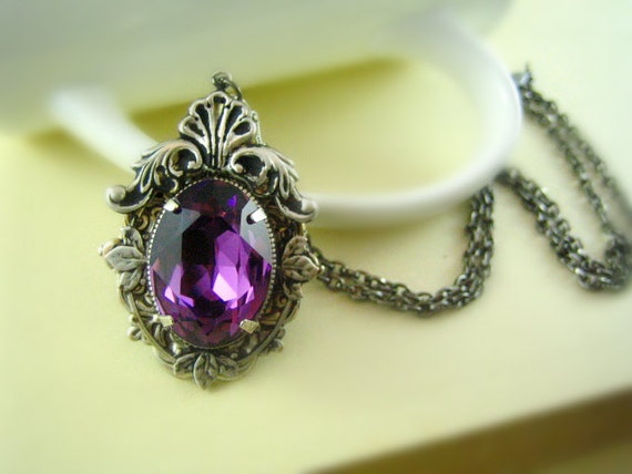 Jewel in the Crown---Swarovski amethyst crystal,ox antique sterling silver plated brass victorian necklace