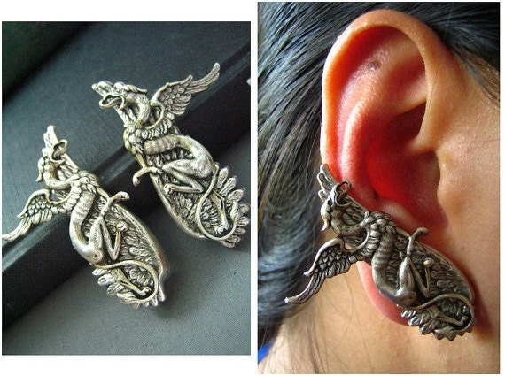 Ear cuff NO PIERCING--vintage style ox sterling silver plated brass gothic griff wing earrings, E489