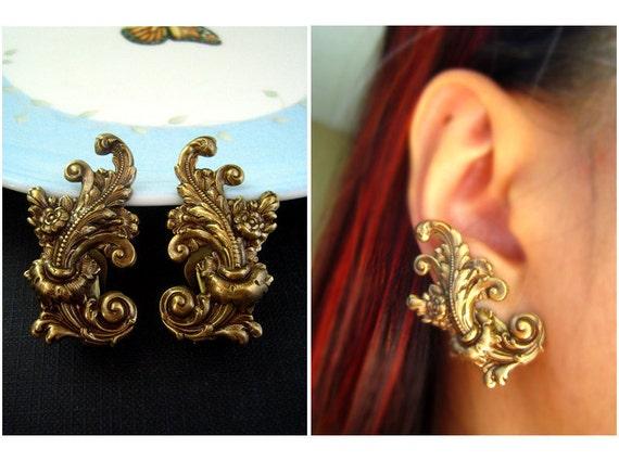Ear cuff No Piercing--Victorian style Art Nouveau Flourish large ox brass earrings