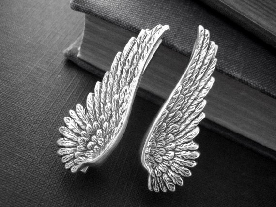 Black Angel Wing Steampunk sterling silver brass Wing alligator hair clips