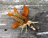 Fall Leaf and Wheat Boutonniere