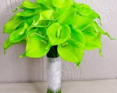 Wildly Vibrant Lime Green Calla Lily Bridal Wedding Bouquet