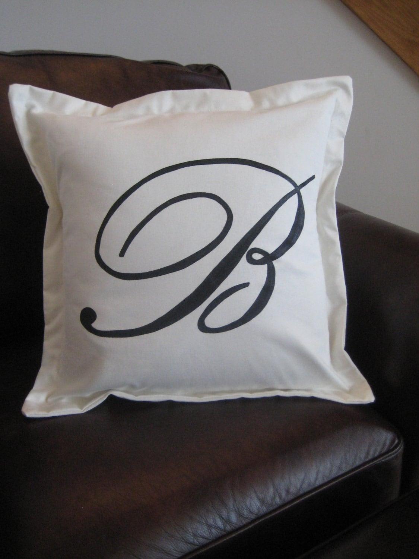 Custom Monogrammed Pillow Sham With Border White 20x20 Pillow