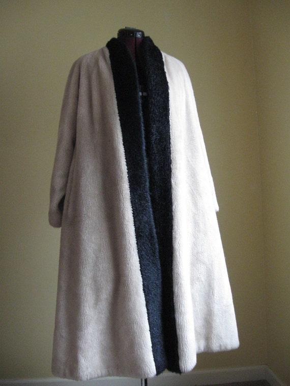 Vintage 1950s Blonde Faux Fur Swing Coat L Xl By By