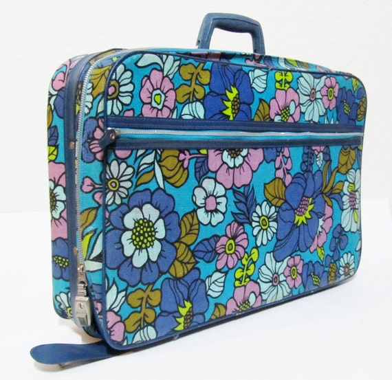 1960s MOD Luggage - Colorful Floral Print on a Vintage Bantam Suitcase