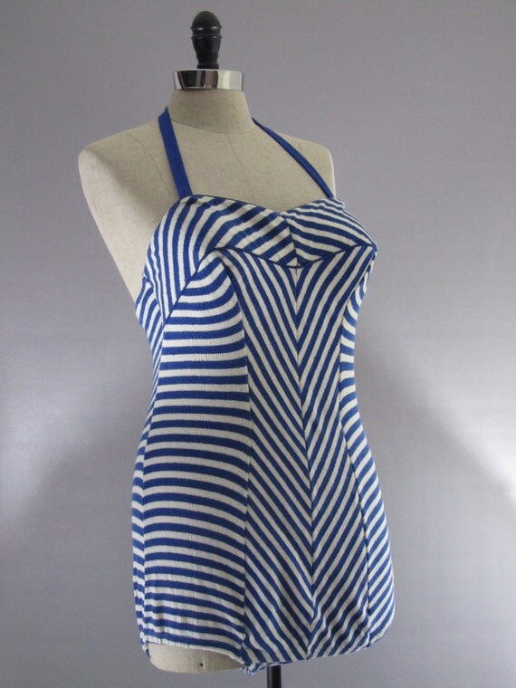 1950s Swimsuit 1940s Swimsuit - Halter Pinup Swimsuit by CATALINA in Blue & White Stripe