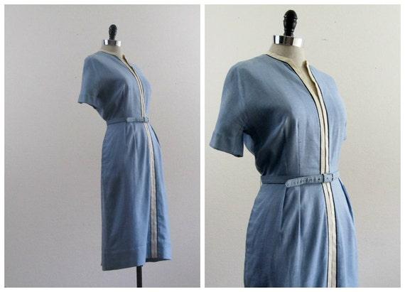 1940s Dress - 1950s Dress - Vintage Blue Linen Spectator Dress by L'Aiglon