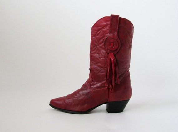Vintage Western Boots / Red Cowgirl Boots in Leather 7.5