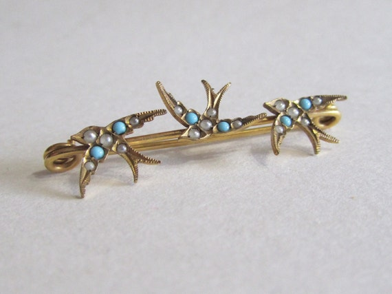 Victorian Swallow Pin - Gorgeous Antique Brooch with a Trio of Birds - Sentimental Jewelry