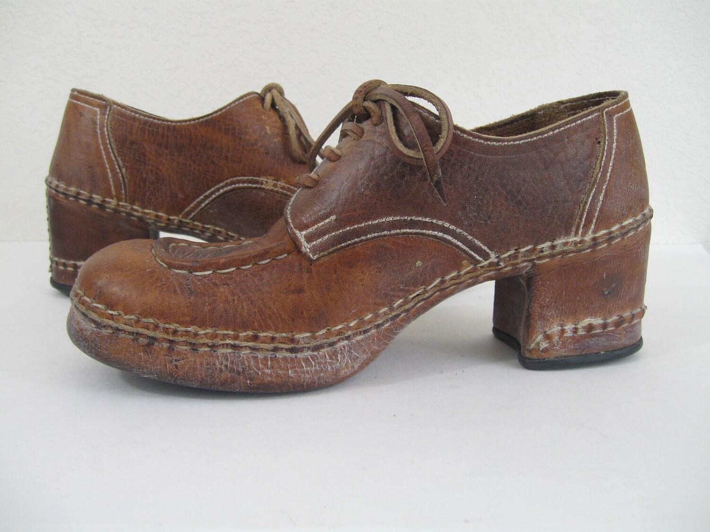 vintage 1970s brown leather disco platform shoes 9 m