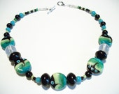 Handmade Beaded Choker with Green, Blue, and Black Lampwork Beads