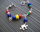 Autism Awareness Handmade Beaded Bracelet with Puzzle Piece Charm