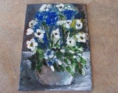 ACEO Original Flower Bouquet Painting on Canvas Panel