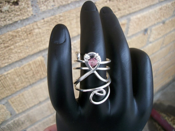 Silver Wire-Wrapped Breast Cancer Awareness Ring