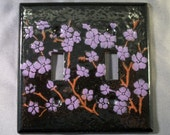 Wall Plate - Enameled Cherry Blossoms Double Switchplate Cover