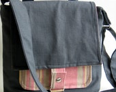 The iPad/Netbook Messenger Bag Eco Friendly Gray Twill Pink Striped Linen Lining