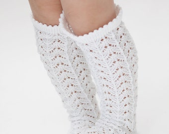 Knit lace socks Lace leg warmers in bright white Girls boot socks Knit Leg warmers Flower gils accessory Thigh High socks