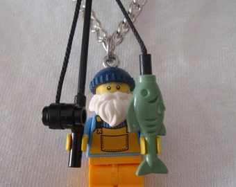 Custom Fisherman Necklace Made With Genuine LEGO® Bricks
