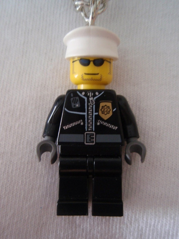 Custom LEGO City Police Cop with White Cap Necklace with Bonus LEGO Tile