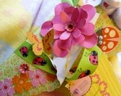 Bouquet for Baby ...Onesie, Bib, Burpcloth, Booties,and 8 Washcloths....Handmade Paper Flowers........Each One is Unique  :)