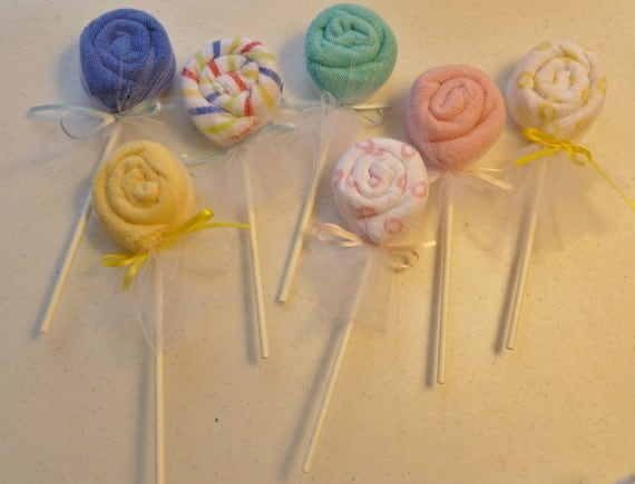 Washcloth Lollipop Bundle of 12... Great Baby Shower Favors...One Free with Purchase