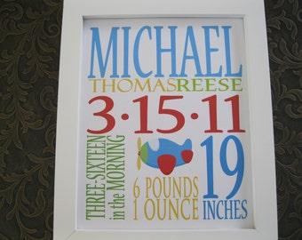 Custom Birth Announcement Print Nursery Decor Airplane 8 x 10 MICHAEL