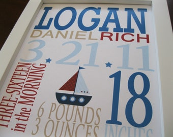 Custom Birth Print, Childrens Wall Art, Boat 8 x 10 LOGAN