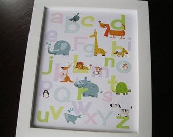 Alphabet and Number Prints - Animals Zoo - Instant Download 8 x 10 PASTEL DIY printable