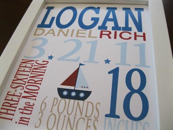 Custom Birth Print, Childrens Wall Art, Boat 8 x 10 LOGAN