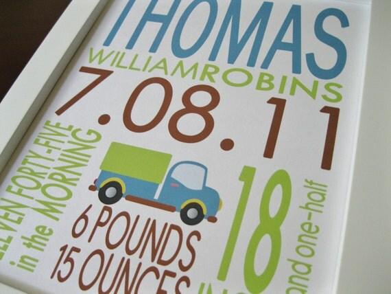 Custom Birth Announcement Print Truck 8 x 10 THOMAS