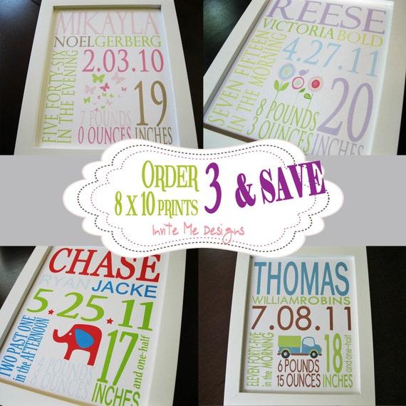 Order THREE Custom Baby Birth Announcement Prints Boy or Girl 8 x 10