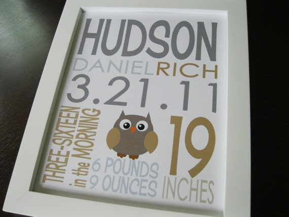 Birth Announcement Baby Boy Print Owl 8 x 10 HUDSON