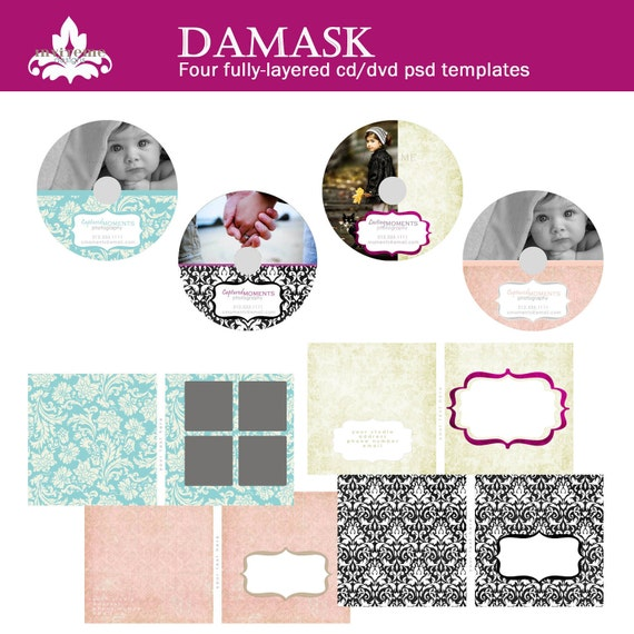 Damask Set of Eight CD DVD Labels and Covers Photography Template Photoshop