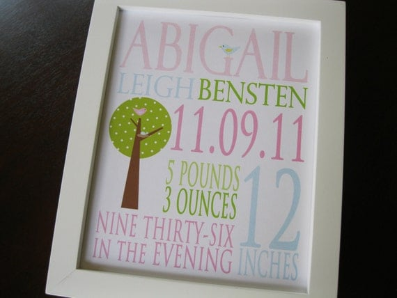 Nursery Art Print Baby Girl Personalized Birth Print Bird Owl 8 x 10 ABIGAIL
