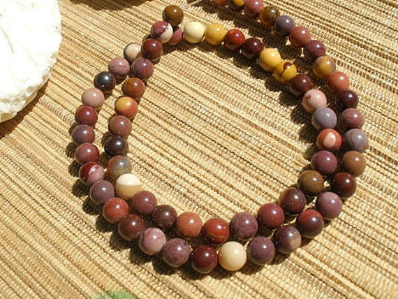Moukite jasper 6mm round brown red mauve beige color gemstone bead